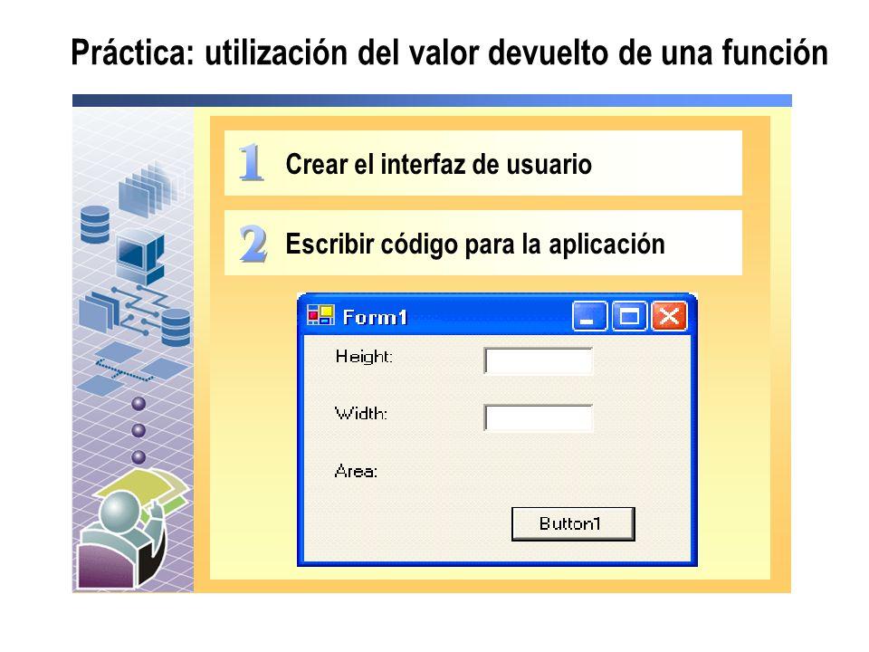 Práctica: utilización del valor devuelto de una función