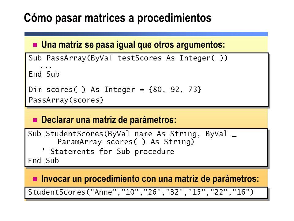 Cómo pasar matrices a procedimientos