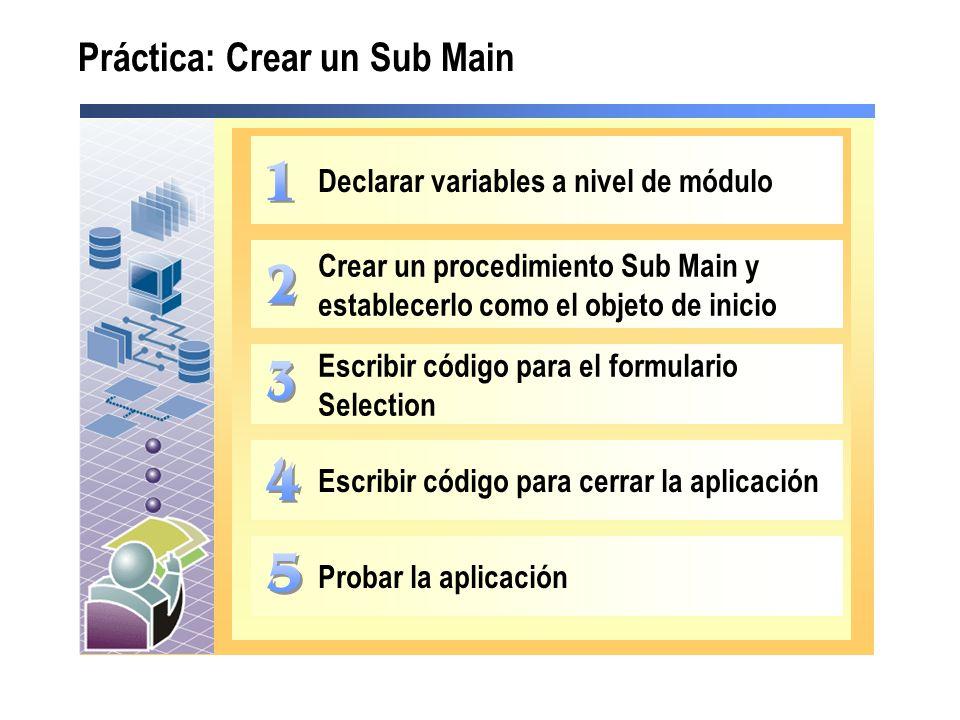 Práctica: Crear un Sub Main