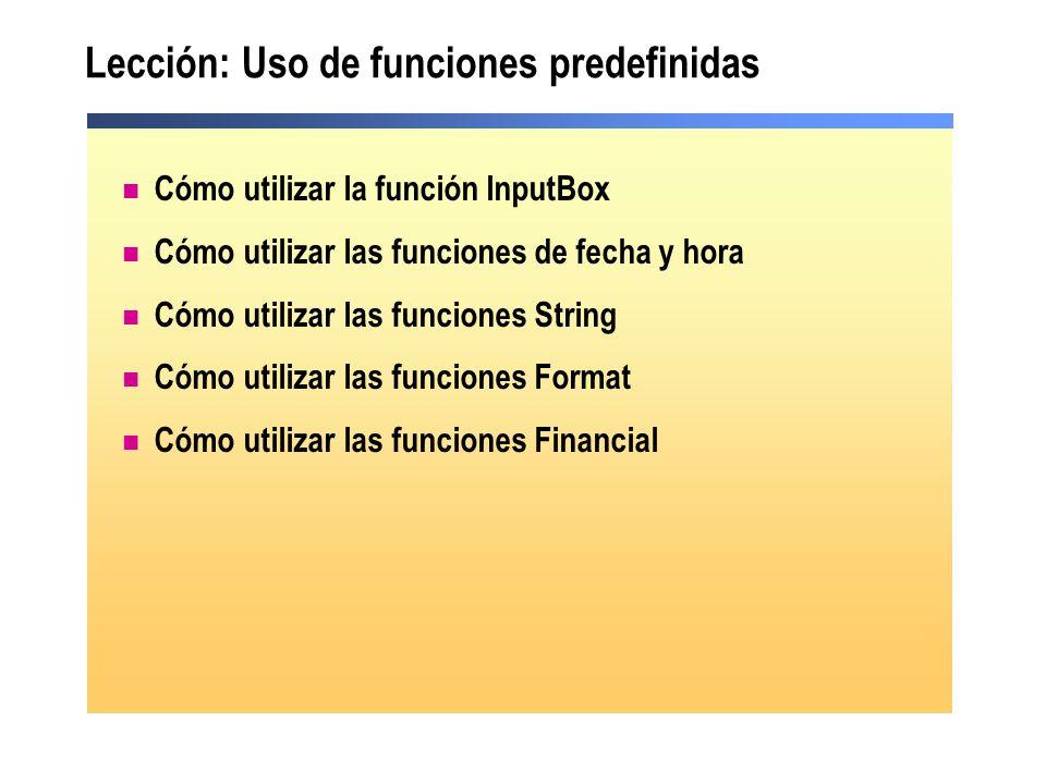 Lección: Uso de funciones predefinidas