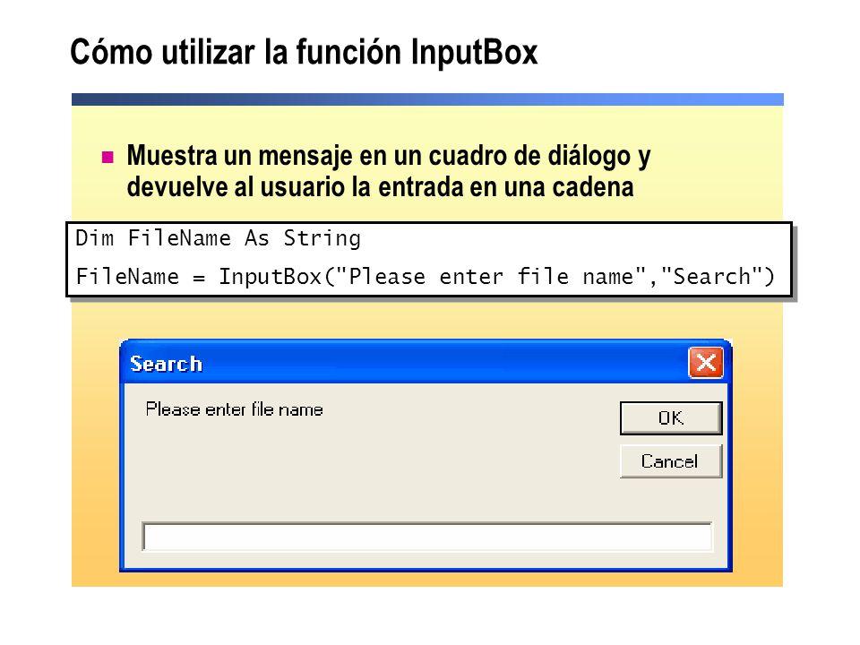 Cómo utilizar la función InputBox
