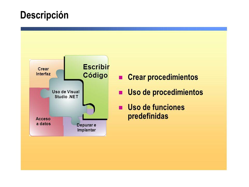 Descripción Crear procedimientos Uso de procedimientos