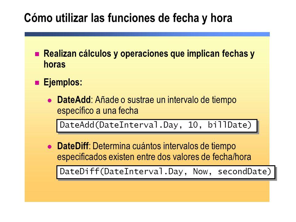 Cómo utilizar las funciones de fecha y hora