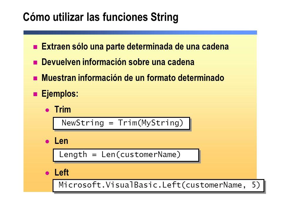 Cómo utilizar las funciones String