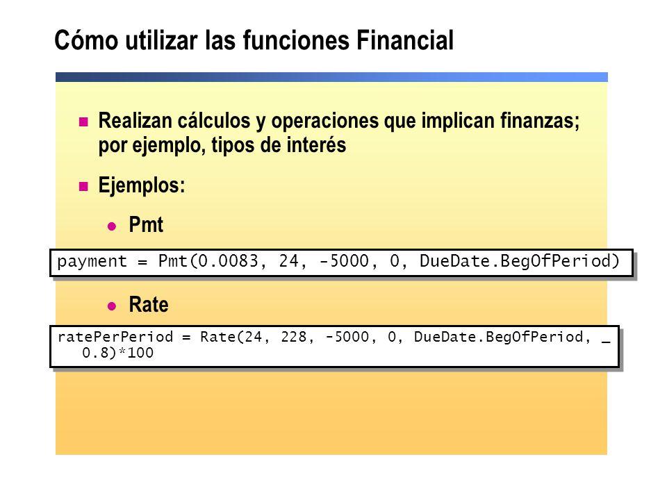 Cómo utilizar las funciones Financial
