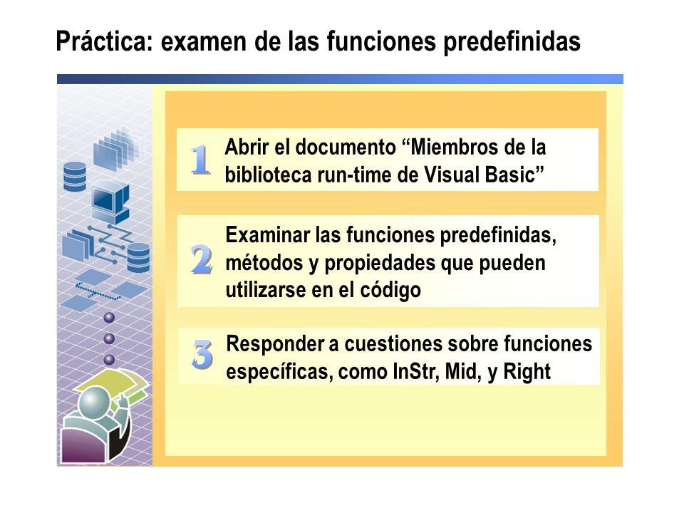 Práctica: examen de las funciones predefinidas