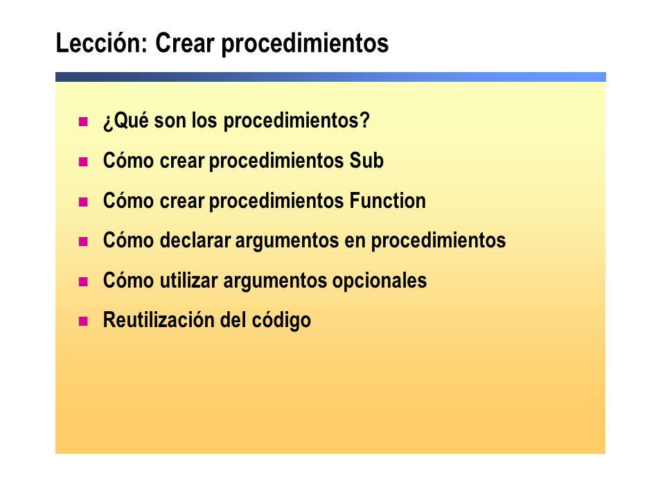 Lección: Crear procedimientos