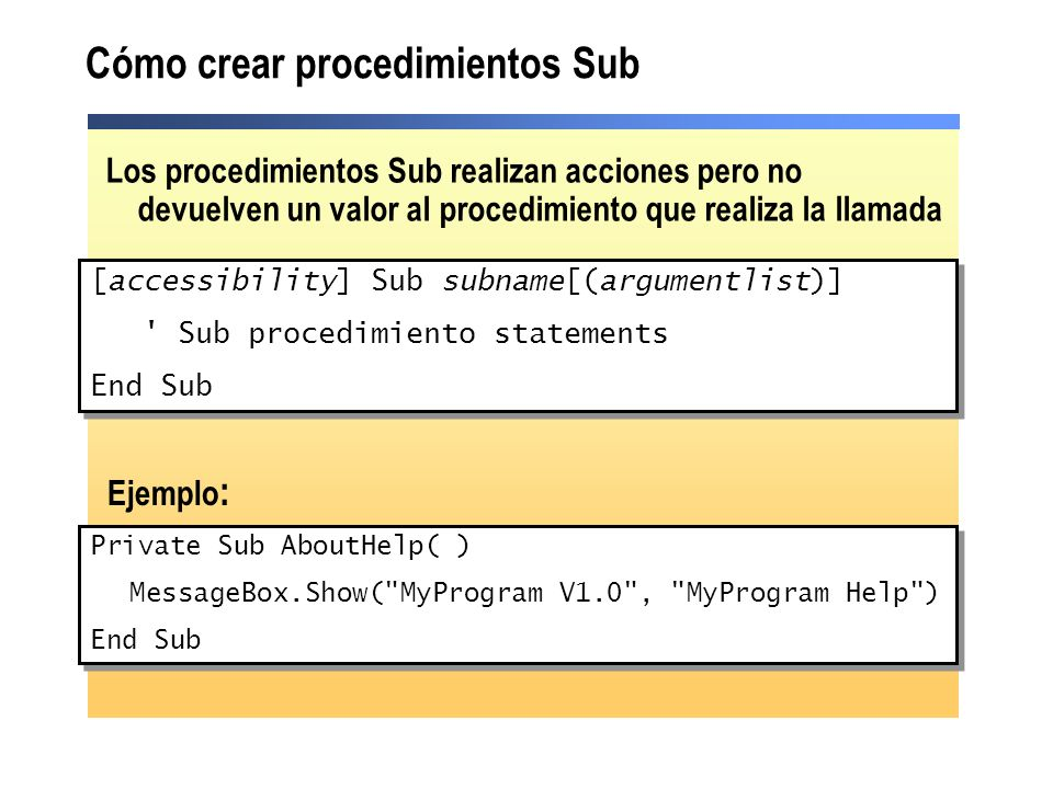 Cómo crear procedimientos Sub