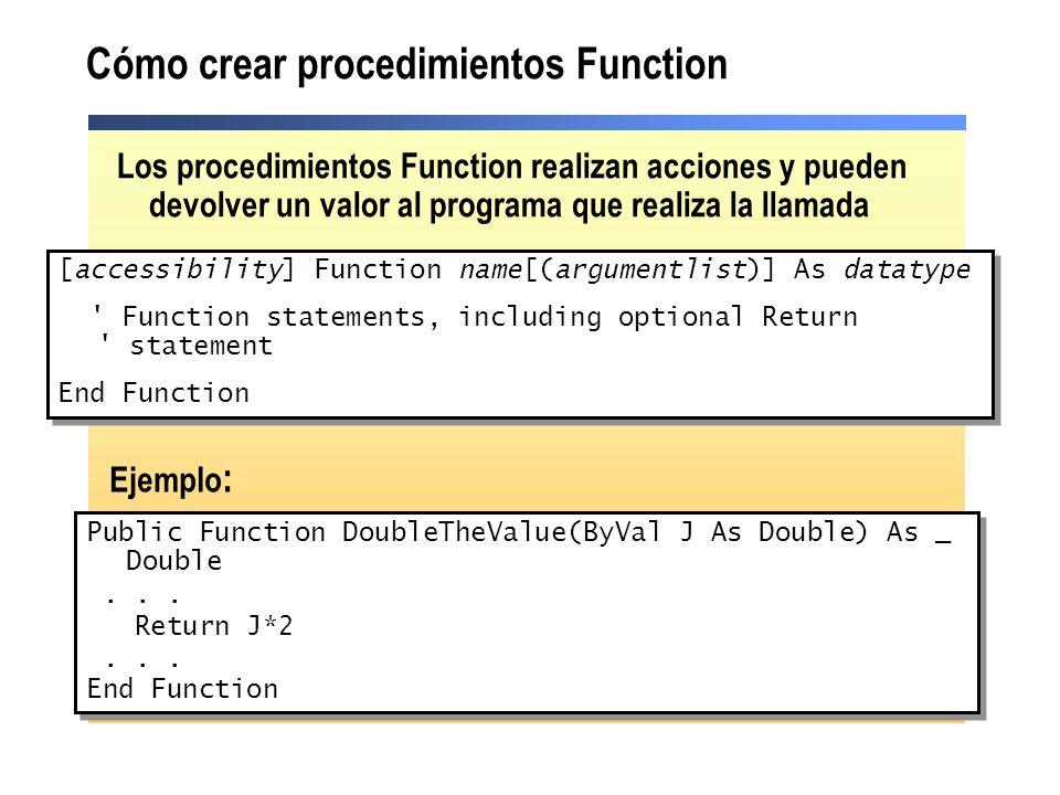 Cómo crear procedimientos Function
