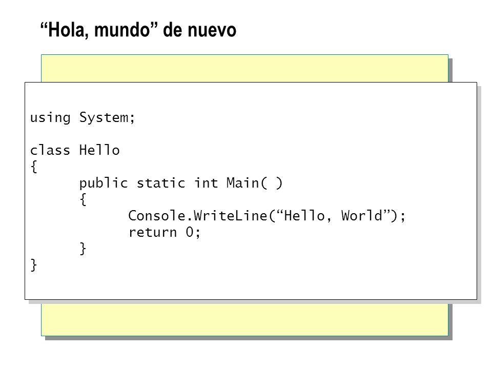 Hola, mundo de nuevo using System; class Hello {