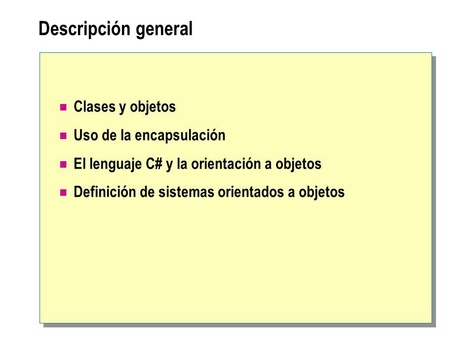 Descripción general Clases y objetos Uso de la encapsulación