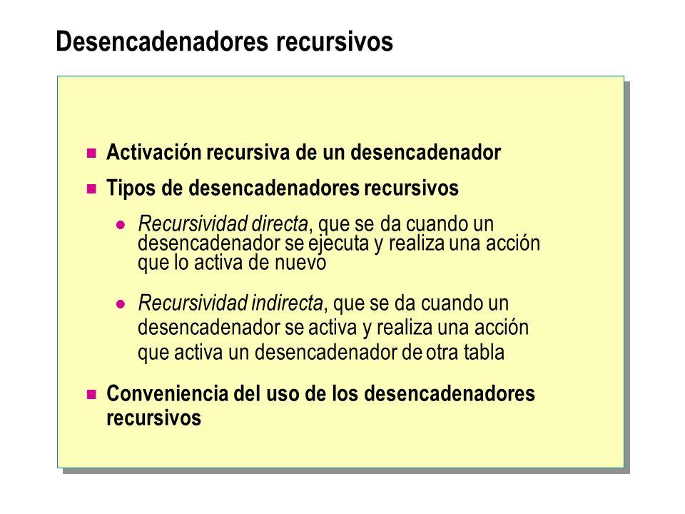 Desencadenadores recursivos