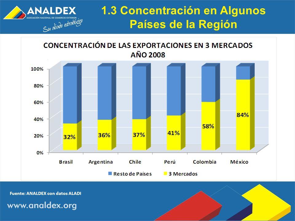 1.3 Concentración en Algunos Países de la Región