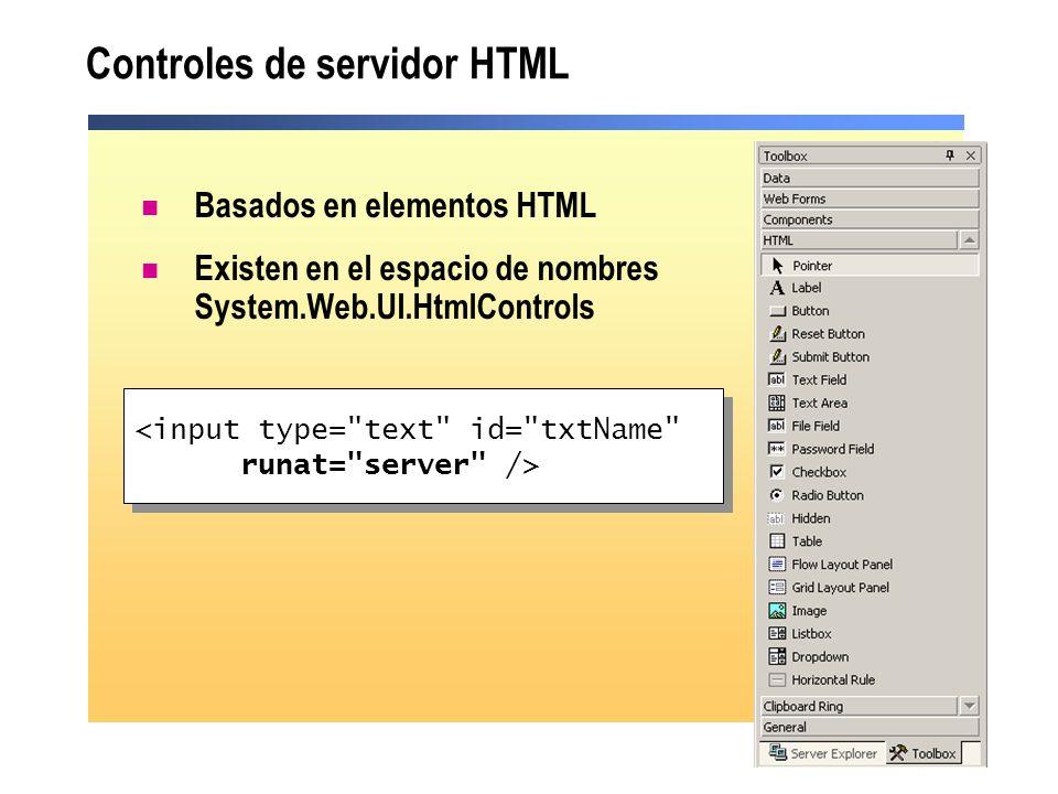 Controles de servidor HTML