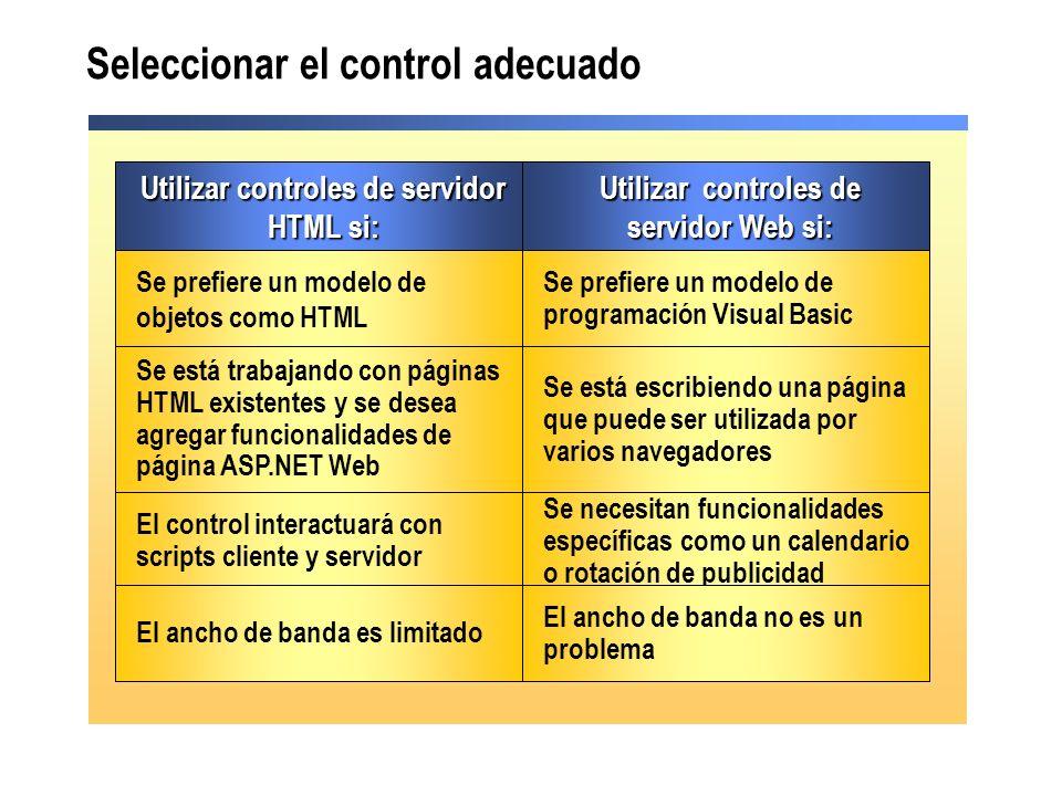 Seleccionar el control adecuado