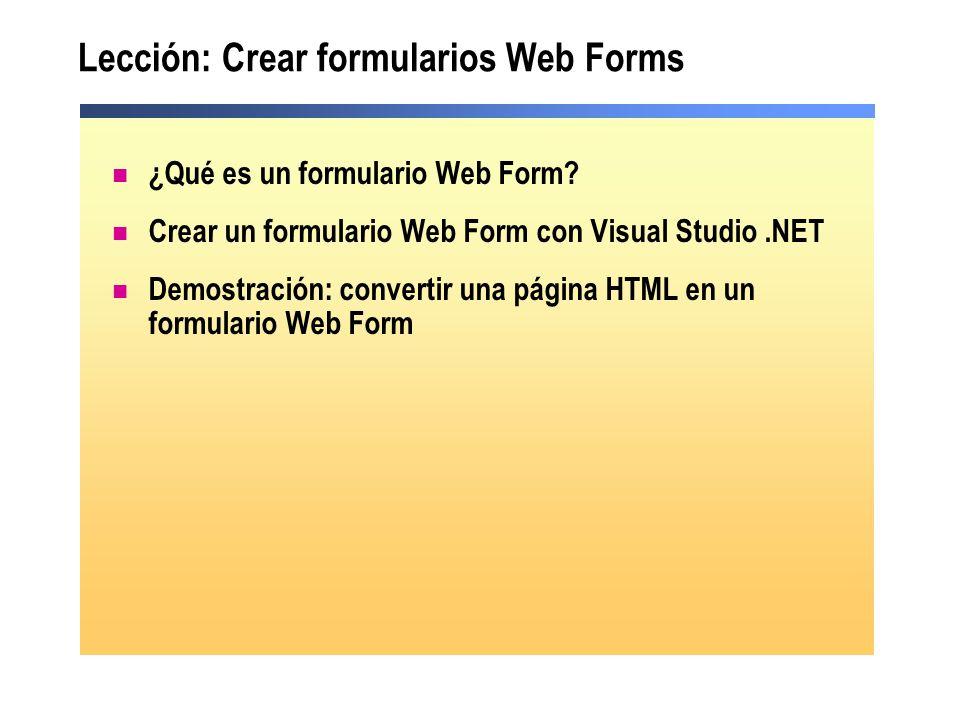 Lección: Crear formularios Web Forms