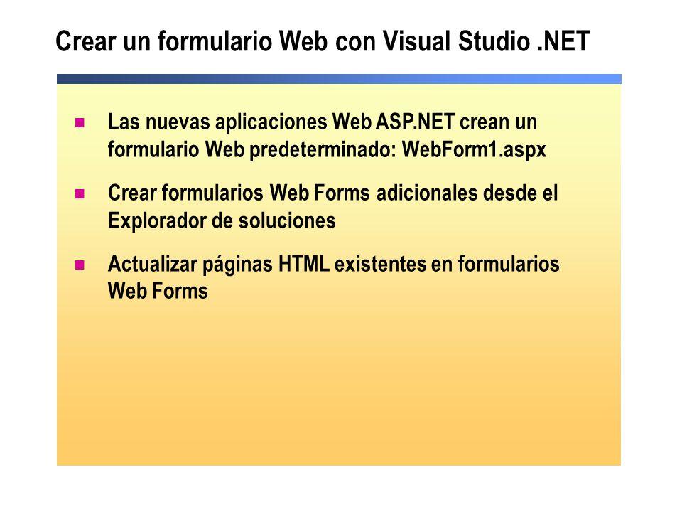 Crear un formulario Web con Visual Studio .NET