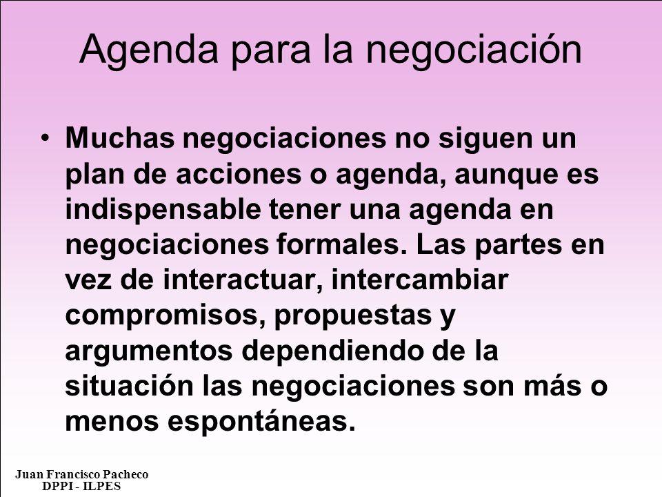 Agenda para la negociación