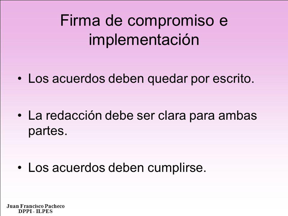 Firma de compromiso e implementación