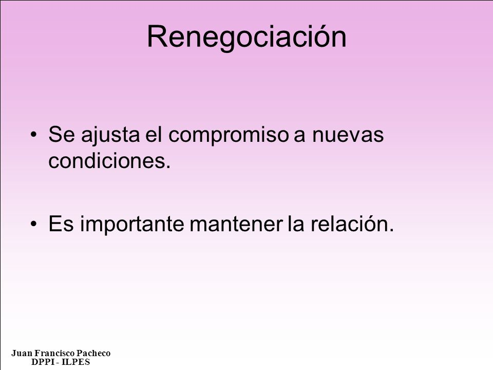 Renegociación Se ajusta el compromiso a nuevas condiciones.