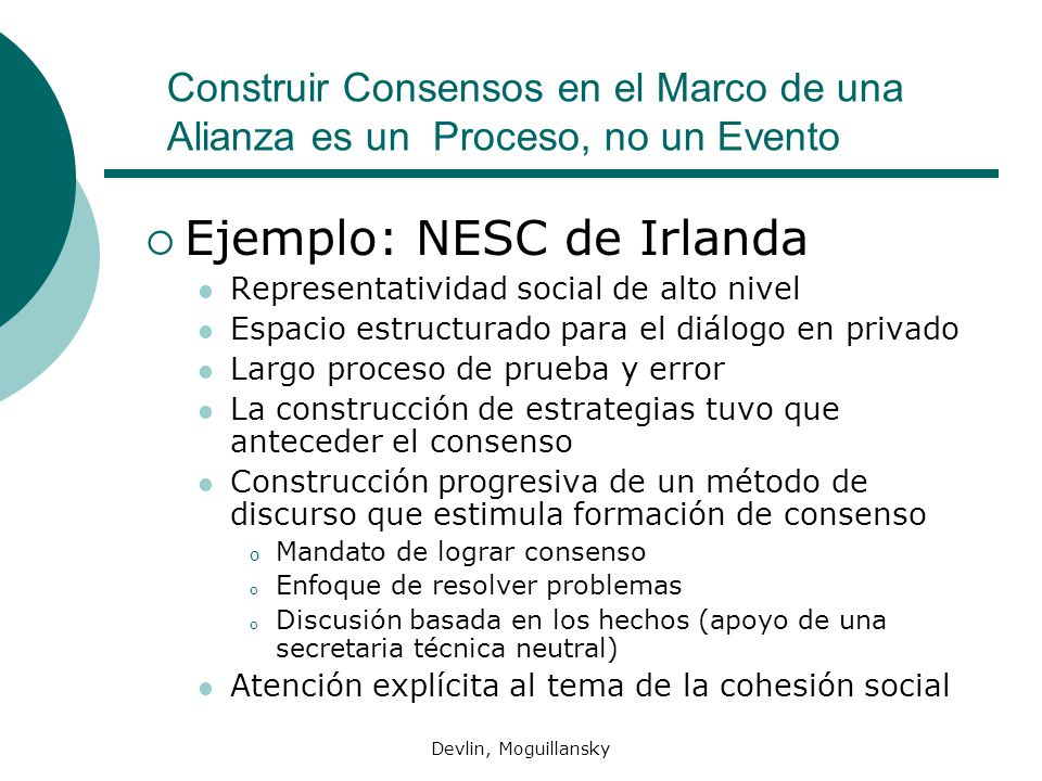 Ejemplo: NESC de Irlanda