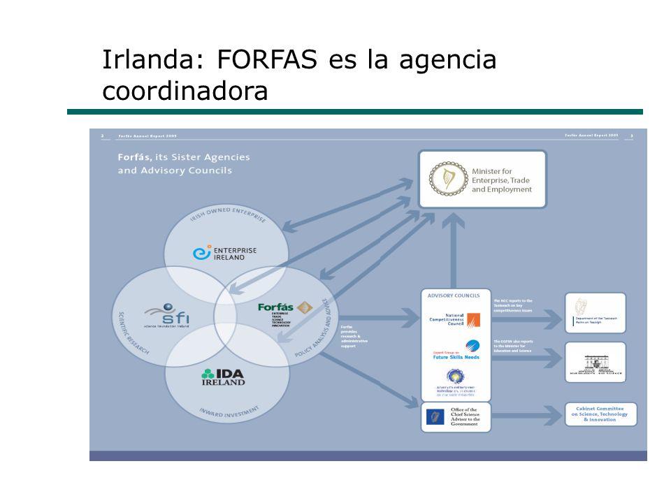 Irlanda: FORFAS es la agencia coordinadora