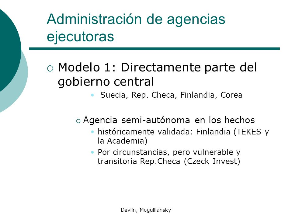 Administración de agencias ejecutoras