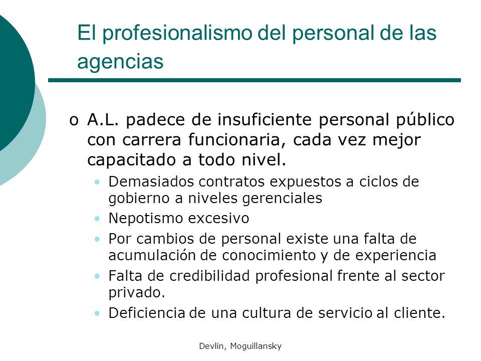 El profesionalismo del personal de las agencias