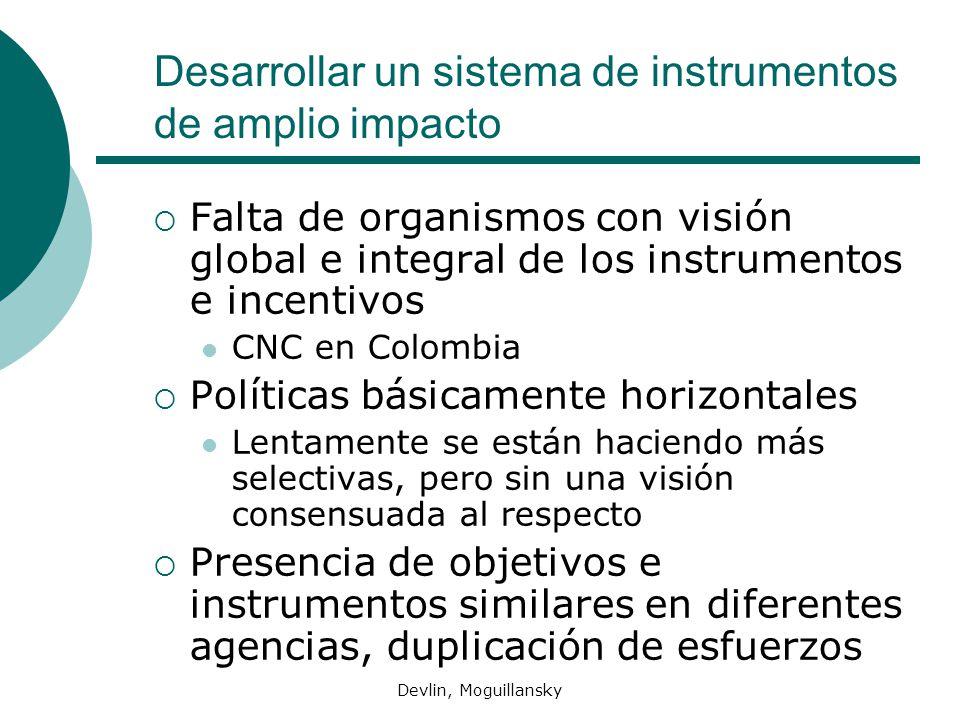Desarrollar un sistema de instrumentos de amplio impacto