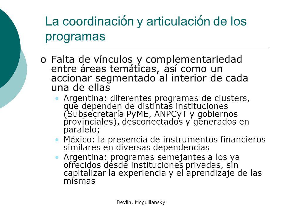 La coordinación y articulación de los programas
