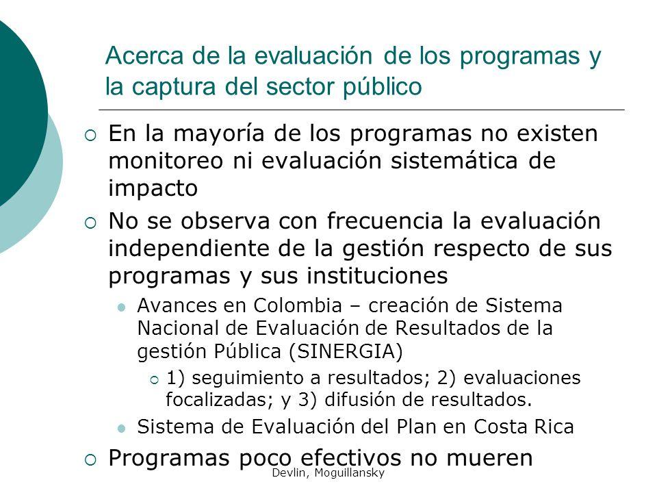 Acerca de la evaluación de los programas y la captura del sector público