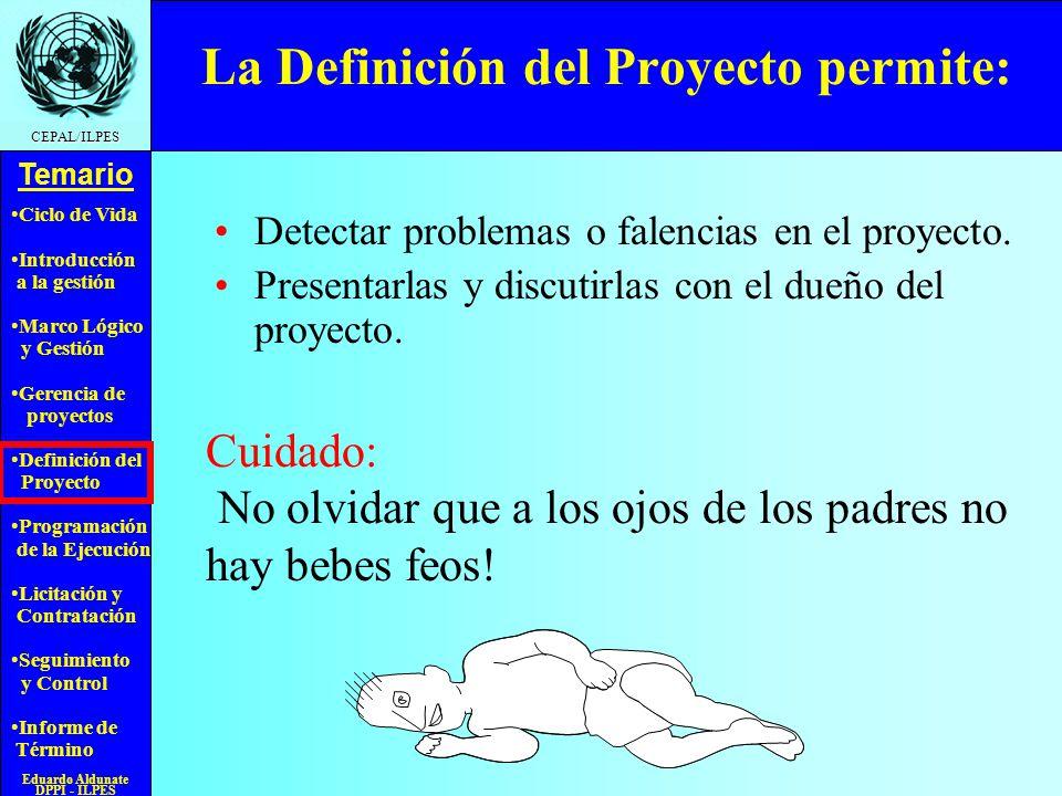 La Definición del Proyecto permite: