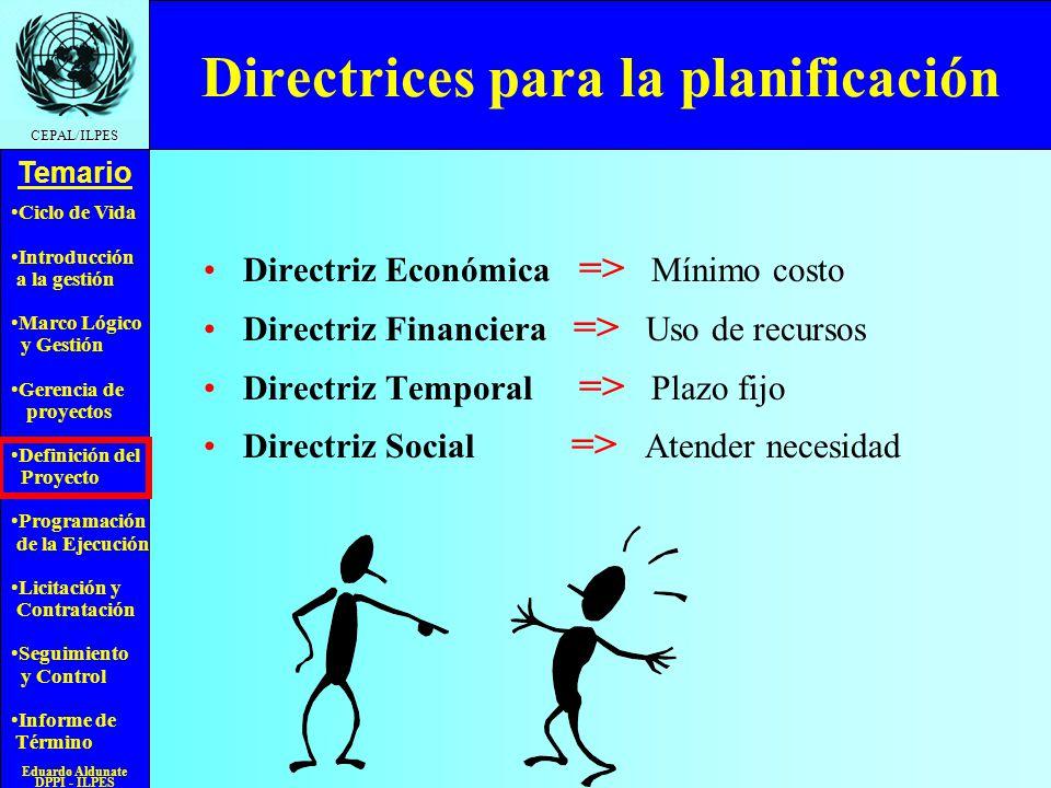 Directrices para la planificación