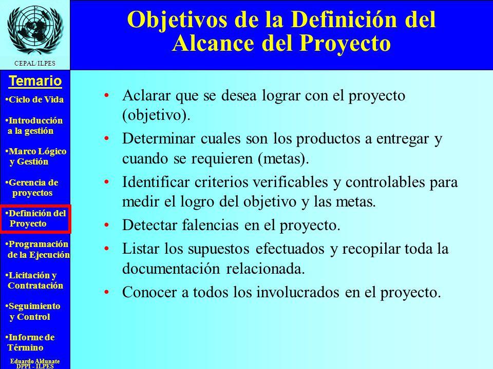 Objetivos de la Definición del Alcance del Proyecto