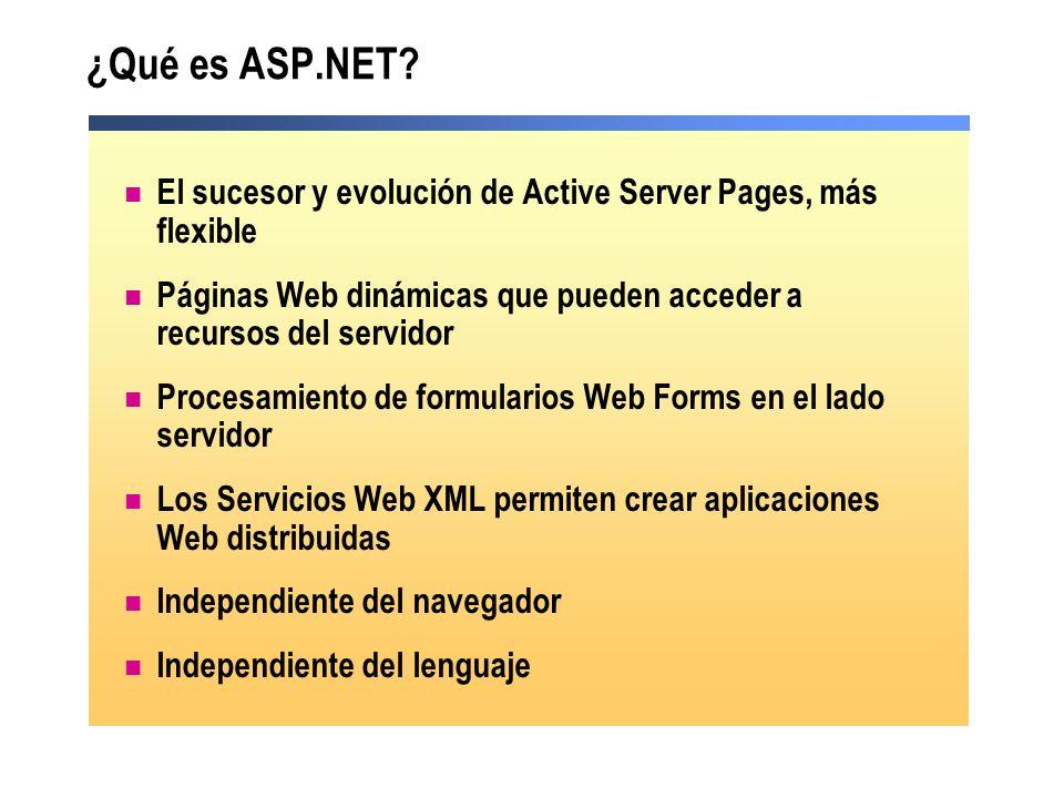 ¿Qué es ASP.NET El sucesor y evolución de Active Server Pages, más flexible. Páginas Web dinámicas que pueden acceder a recursos del servidor.