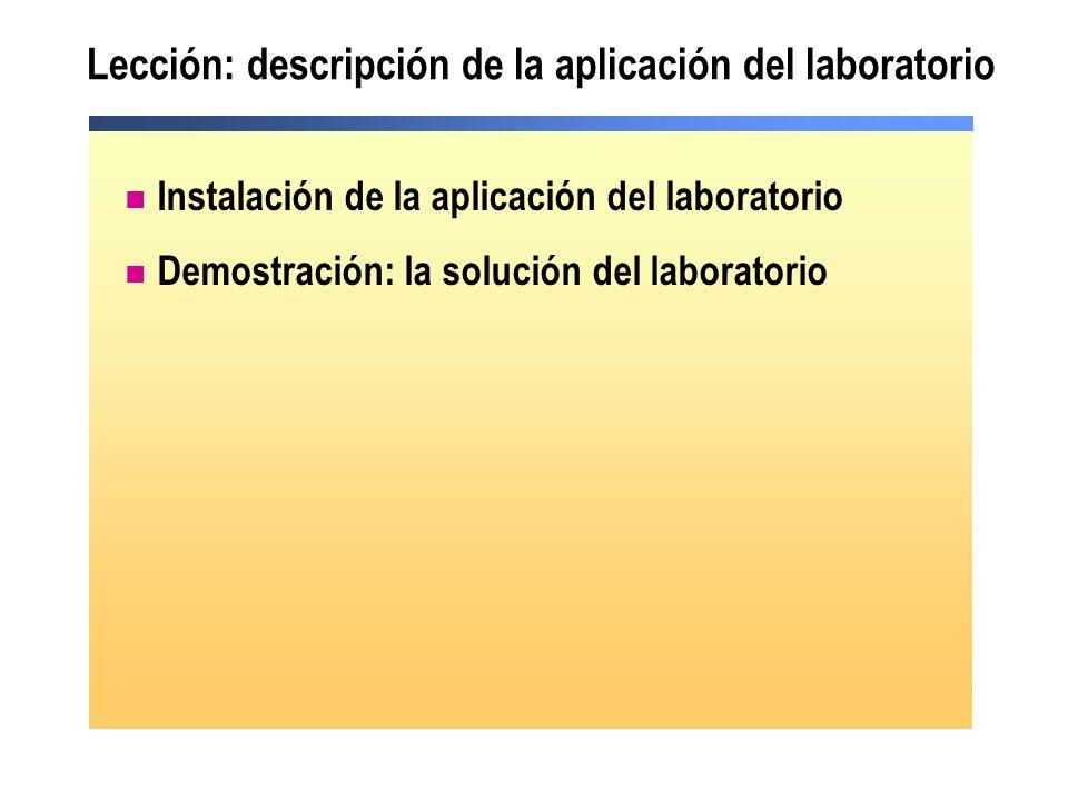 Lección: descripción de la aplicación del laboratorio