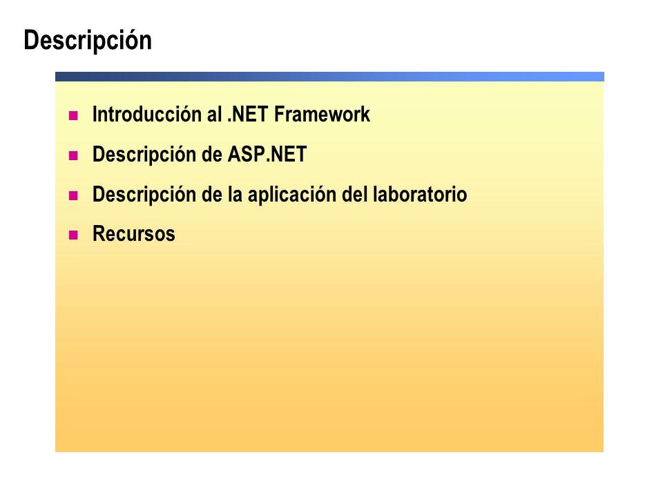 Descripción Introducción al .NET Framework Descripción de ASP.NET