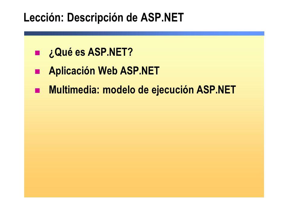 Lección: Descripción de ASP.NET
