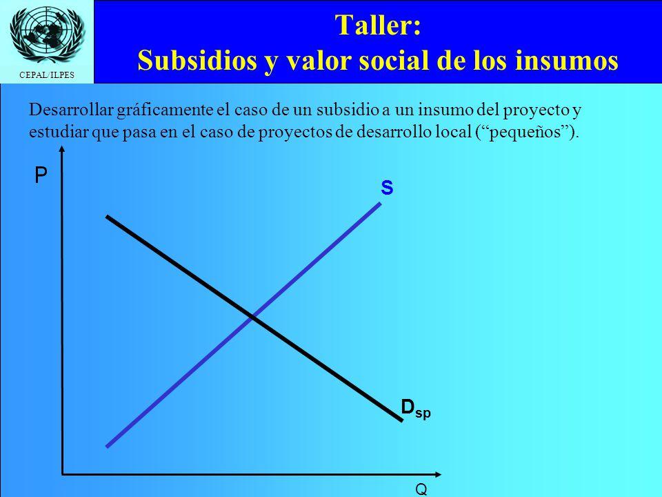 Taller: Subsidios y valor social de los insumos