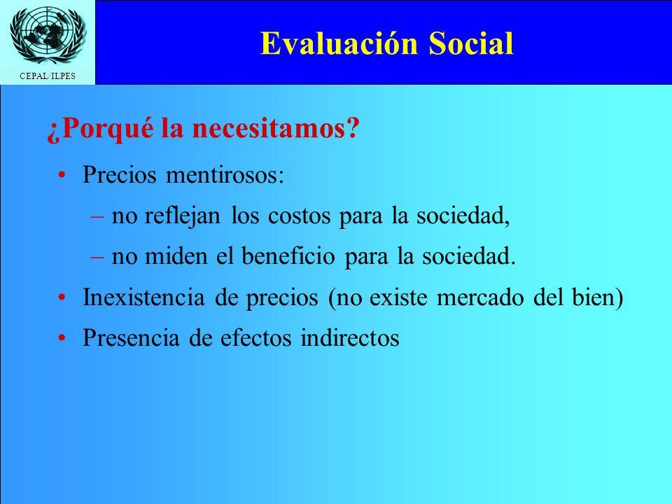 Evaluación Social ¿Porqué la necesitamos Precios mentirosos: