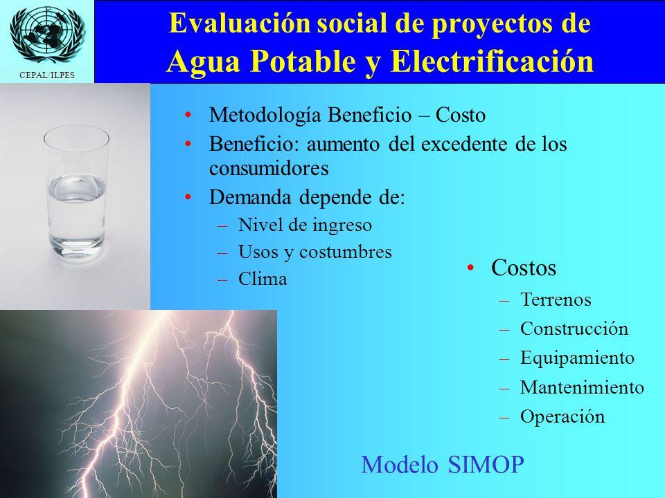 Evaluación social de proyectos de Agua Potable y Electrificación