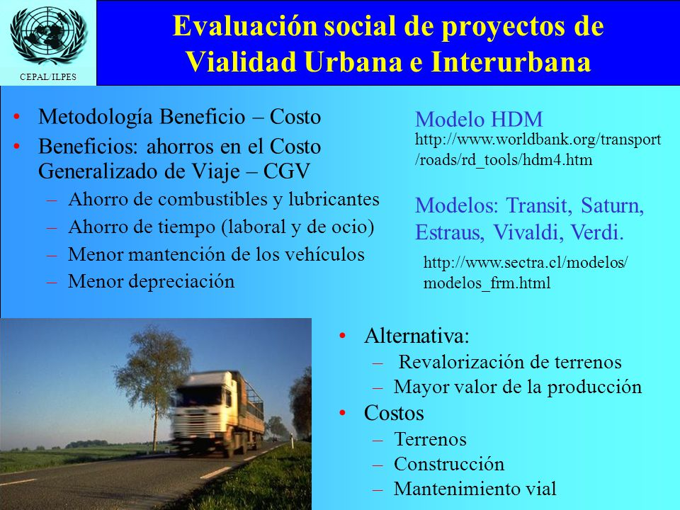 Evaluación social de proyectos de Vialidad Urbana e Interurbana