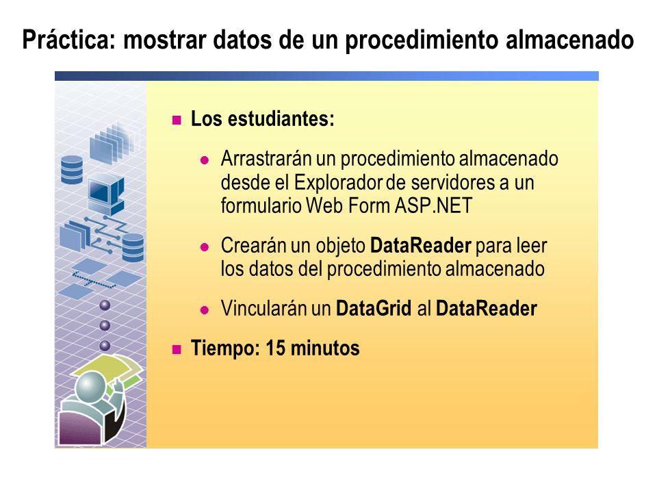 Práctica: mostrar datos de un procedimiento almacenado