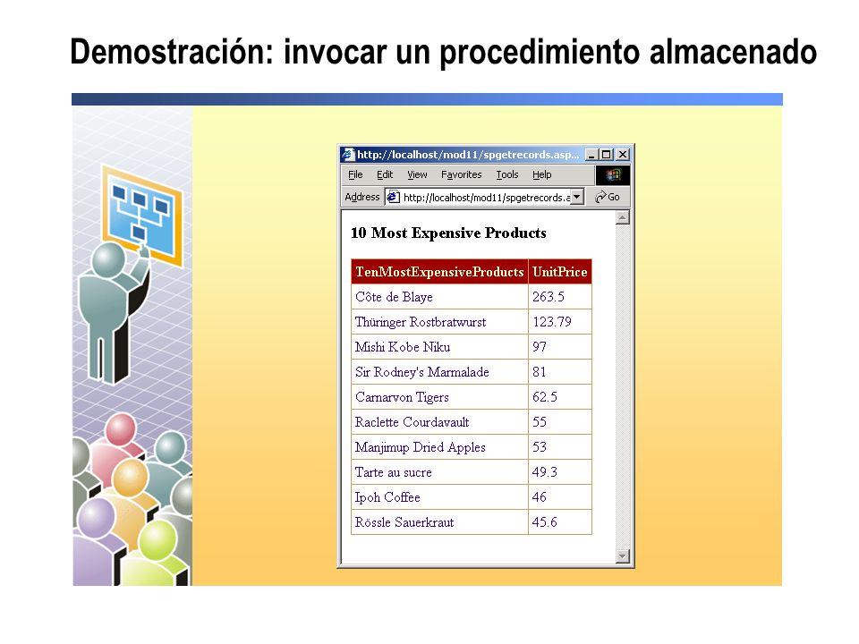 Demostración: invocar un procedimiento almacenado