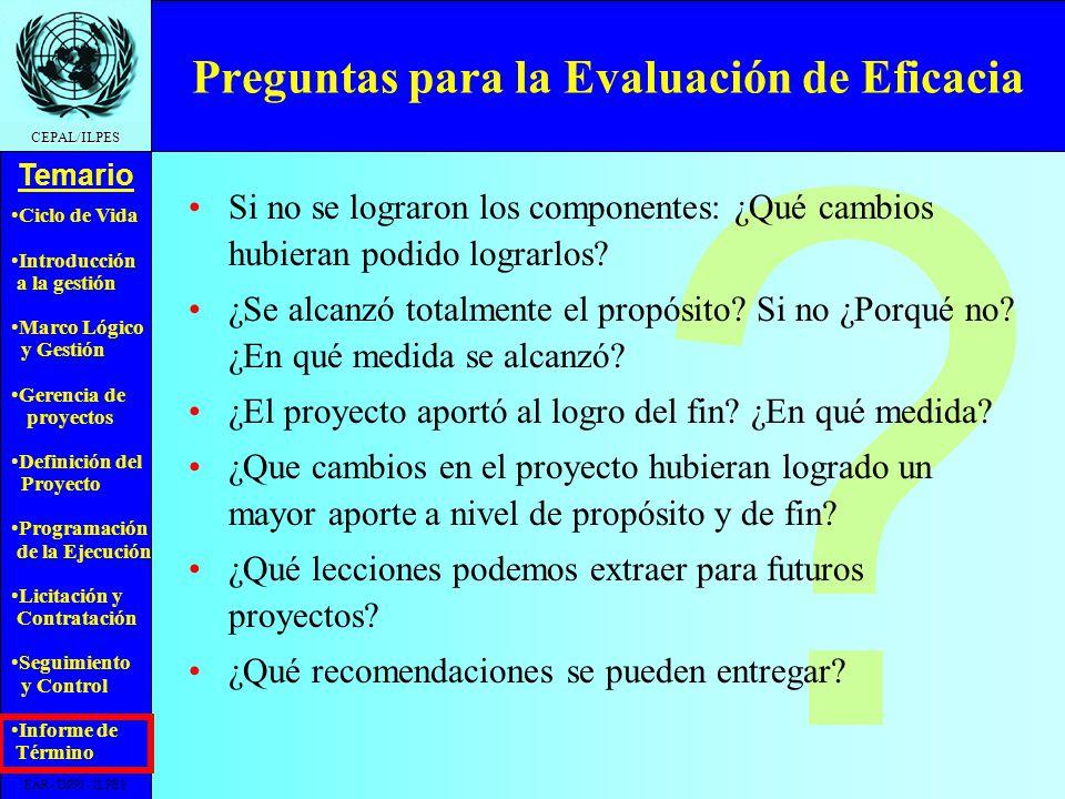 Preguntas para la Evaluación de Eficacia