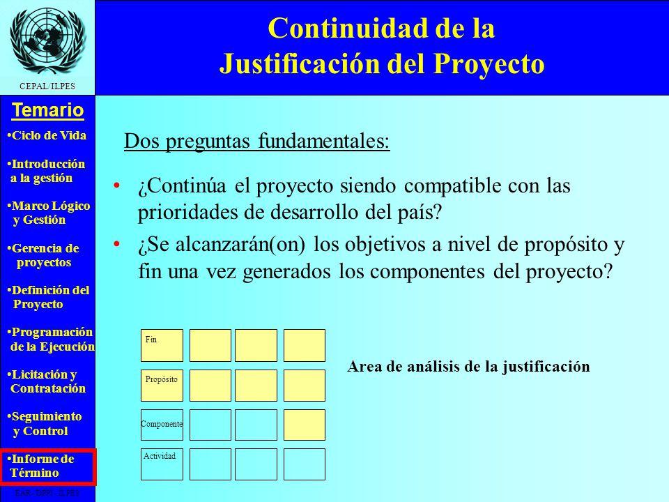 Continuidad de la Justificación del Proyecto