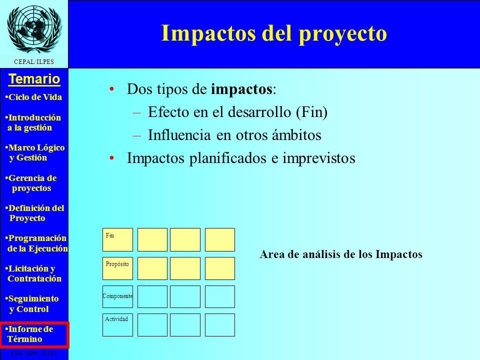 Area de análisis de los Impactos