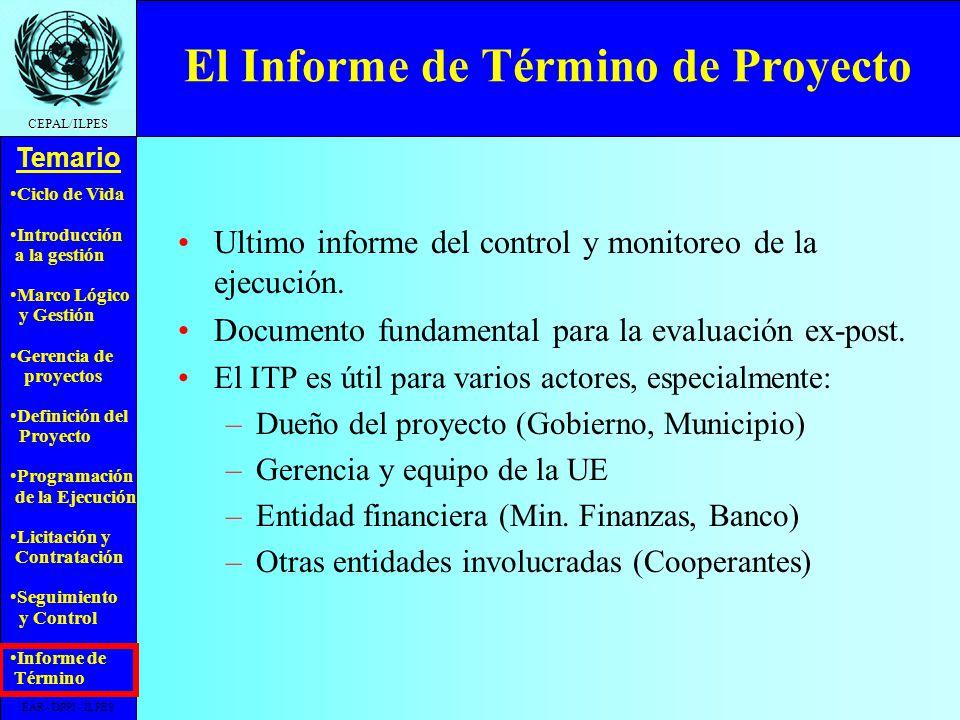 El Informe de Término de Proyecto