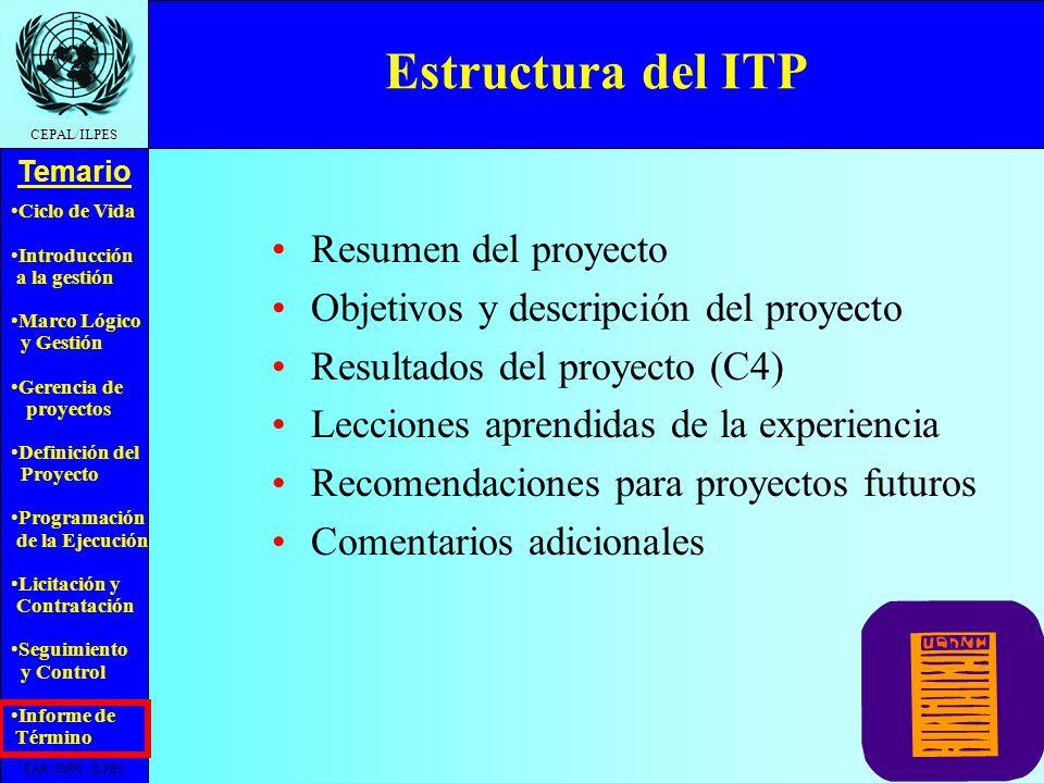 Estructura del ITP Resumen del proyecto