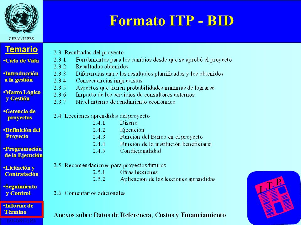 Formato ITP - BID I T P EAR - DPPI - ILPES